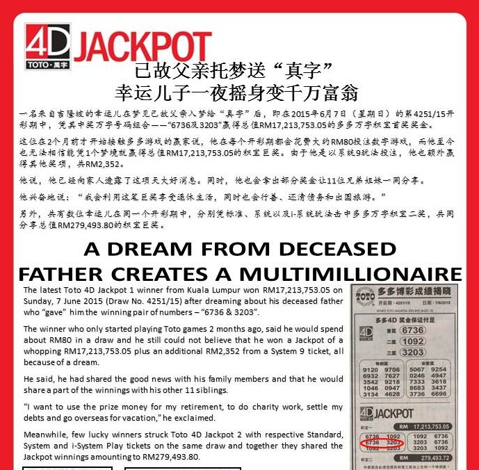 Online 4D Betting Tomb late father sent